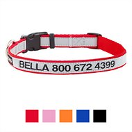 GoTags Personalized Reflective Nylon Dog Collar, Red, Medium