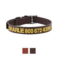 GoTags Personalized Leather Dog Collar, Dark Brown, 14 - 17 in