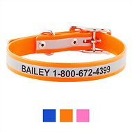 GoTags Personalized Reflective Waterproof Dog Collar, Orange, 14 - 16 in