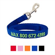 GoTags Personalized Nylon Dog Leash, Blue, Medium: 6-ft long, 5/8-in wide