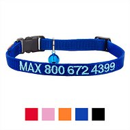 GoTags Personalized Nylon Breakaway Cat Collar, Blue