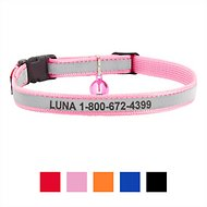 GoTags Personalized Reflective Nylon Breakaway Cat Collar, Pink