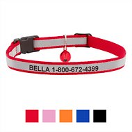 GoTags Personalized Reflective Nylon Breakaway Cat Collar, Red