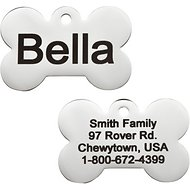 GoTags Personalized Stainless Steel ID Tag, Bone, Small