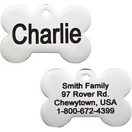 GoTags Personalized Stainless Steel ID Tag, Bone, Regular