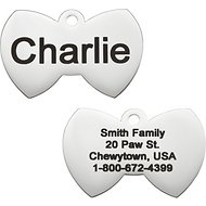 GoTags Personalized Stainless Steel ID Tag, Bow Tie, Small