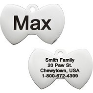 GoTags Personalized Stainless Steel ID Tag, Bow Tie, Regular