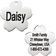 GoTags Personalized Stainless Steel ID Tag, Flower, Small