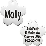 GoTags Personalized Stainless Steel ID Tag, Flower, Regular