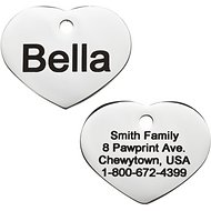GoTags Personalized Stainless Steel ID Tag, Heart, Small