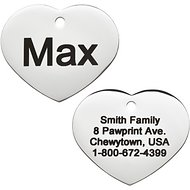 GoTags Personalized Stainless Steel ID Tag, Heart, Regular