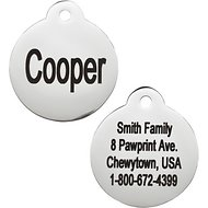 GoTags Personalized Stainless Steel ID Tag, Round, Regular