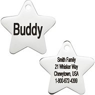 GoTags Personalized Stainless Steel ID Tag, Star, Regular