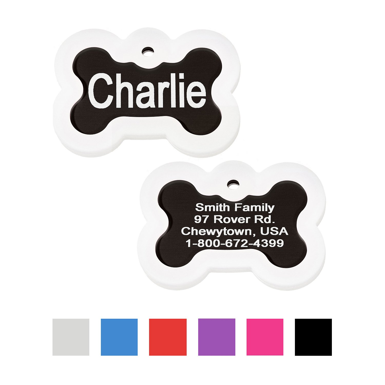 Gotags Personalized Anodized Aluminum Id Tag With Silencer Bone