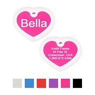 GoTags Personalized Anodized Aluminum ID Tag with Silencer, Heart, Pink, Regular