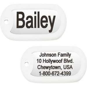 GoTags Personalized Rectangular Stainless Steel ID Tag with Silencer