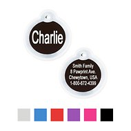 GoTags Personalized Anodized Aluminum ID Tag with Silencer, Round, Black, Regular