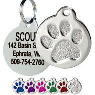 GoTags Personalized Stainless Steel ID Tag, Paw Print, Small