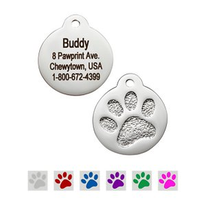 GoTags Personalized Stainless Steel Paw Print ID Tag