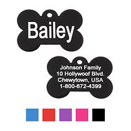 GoTags Personalized Anodized Aluminum ID Tag, Bone, Black, Small