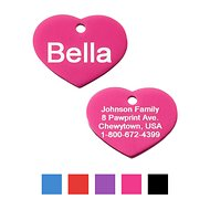 GoTags Personalized Anodized Aluminum ID Tag, Heart, Pink, Small