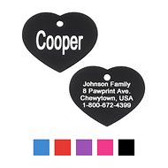 GoTags Personalized Anodized Aluminum ID Tag, Heart, Black, Regular
