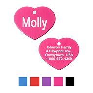 GoTags Personalized Anodized Aluminum ID Tag, Heart, Pink, Regular