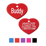 GoTags Personalized Anodized Aluminum ID Tag, Heart, Red, Regular