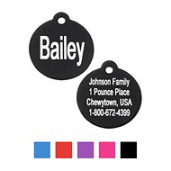 GoTags Personalized Anodized Aluminum ID Tag, Round, Black, Small