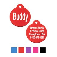 GoTags Personalized Anodized Aluminum ID Tag, Round, Red, Regular