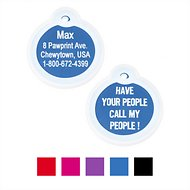 "GoTags Personalized Anodized Aluminum ID Tag with Silencer, ""Have Your People Call My People"", Blue"