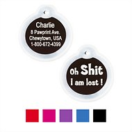 "GoTags Personalized Anodized Aluminum ID Tag with Silencer, ""Oh...I am lost"", Black"