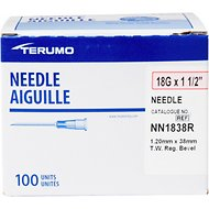 Terumo Hypodermic Thin Wall 18 Gauge Needles, 1.5 Inches, 100 count