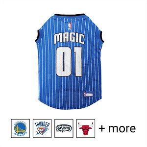 """Pets First NBA Dog & Cat Mesh Jersey, Orlando Magic, Large; **Remember to measure your pet for the paw-fect fit.** Calling all basketball fans, get your four-legged mascot ready for game day with the Pets First NBA Mesh Dog & Cat Jersey. Sporting the official team name, logo, and colors of the team you choose, this high-quality jersey is made with breathable mesh so he never has to break a sweat during those close calls. The woven trim and screen printing looks just like what the pros wear, while the NBA """"property of"""" jock tag on the back allows you to add a touch of personalization. Because win or lose, it's all about the look for your favorite MVP—most valuable pet, that is!"""