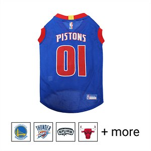 """Pets First NBA Dog & Cat Mesh Jersey, Detriot Pistons, Large; **Remember to measure your pet for the paw-fect fit.** Calling all basketball fans, get your four-legged mascot ready for game day with the Pets First NBA Mesh Dog & Cat Jersey. Sporting the official team name, logo, and colors of the team you choose, this high-quality jersey is made with breathable mesh so he never has to break a sweat during those close calls. The woven trim and screen printing looks just like what the pros wear, while the NBA """"property of"""" jock tag on the back allows you to add a touch of personalization. Because win or lose, it's all about the look for your favorite MVP—most valuable pet, that is!"""