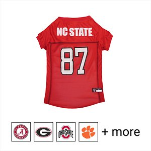 """Pets First NCAA Dog & Cat Mesh Jersey, NC State, XX-Large; **Remember to measure your pet for the paw-fect fit.** Get your furry super-fan ready for game day with the Pets First NCAA Dog & Cat Mesh Jersey. Sporting the official team name, logo, and colors of your choice, this high-quality jersey is made with the same materials the pros wear—100% satin and breathable mesh—so your little athlete never has to break a sweat during those close calls. The overlock stitching and woven trim adds extra swagger and style, while the NCAA """"property of"""" jock tag on the back allows you to add a touch of personalization. Because win or lose, it's all about the look for your favorite MVP—most valuable pet, that is!"""