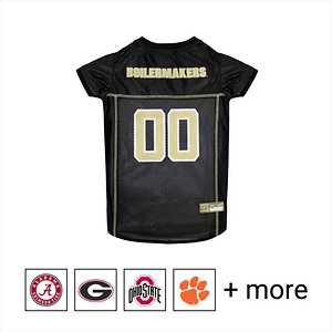 """Pets First NCAA Dog & Cat Mesh Jersey, Purdue Boilermakers, Small; **Remember to measure your pet for the paw-fect fit.** Get your furry super-fan ready for game day with the Pets First NCAA Dog & Cat Mesh Jersey. Sporting the official team name, logo, and colors of your choice, this high-quality jersey is made with the same materials the pros wear—100% satin and breathable mesh—so your little athlete never has to break a sweat during those close calls. The overlock stitching and woven trim adds extra swagger and style, while the NCAA """"property of"""" jock tag on the back allows you to add a touch of personalization. Because win or lose, it's all about the look for your favorite MVP—most valuable pet, that is!"""