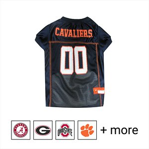 """Pets First NCAA Dog & Cat Mesh Jersey, Virginia Cavaliers, Small; **Remember to measure your pet for the paw-fect fit.** Get your furry super-fan ready for game day with the Pets First NCAA Dog & Cat Mesh Jersey. Sporting the official team name, logo, and colors of your choice, this high-quality jersey is made with the same materials the pros wear—100% satin and breathable mesh—so your little athlete never has to break a sweat during those close calls. The overlock stitching and woven trim adds extra swagger and style, while the NCAA """"property of"""" jock tag on the back allows you to add a touch of personalization. Because win or lose, it's all about the look for your favorite MVP—most valuable pet, that is!"""