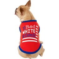 Frisco Red, White and Cute Dog & Cat T-Shirt, Medium