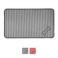 Bone Dry Stripe Embroidered Bone Print Dog & Cat Food Mat, Gray