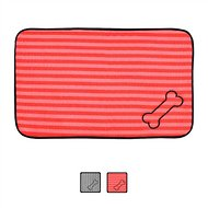 Bone Dry Stripe Embroidered Bone Print Dog & Cat Food Mat, Red