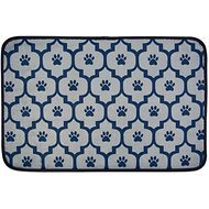 Bone Dry Lattice Paw Print Dog & Cat Food Mat, Navy, Small