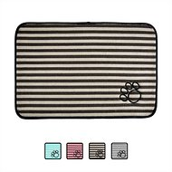 Bone Dry Stripe Embroidered Paw Print Dog & Cat Food Mat, Brown, Small