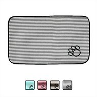 Bone Dry Stripe Embroidered Paw Print Dog & Cat Food Mat, Gray, Large