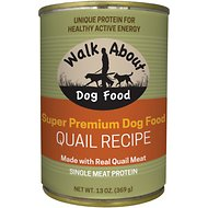 Walk About Grain-Free Quail Dog Canned Food, 13 -oz, case of 12