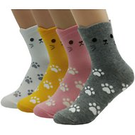 JJMax Kitty Paw Prints with Ear Cuffs Unisex Socks, Pack of 4, One Size