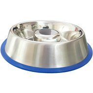 Mr. Peanut's Slow-Feed Stainless Steel Dog Bowl, 64-oz