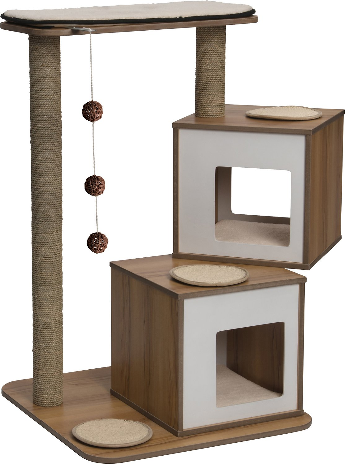 Vesper V Double Cat Tree 40 8 In Walnut Chewy Com
