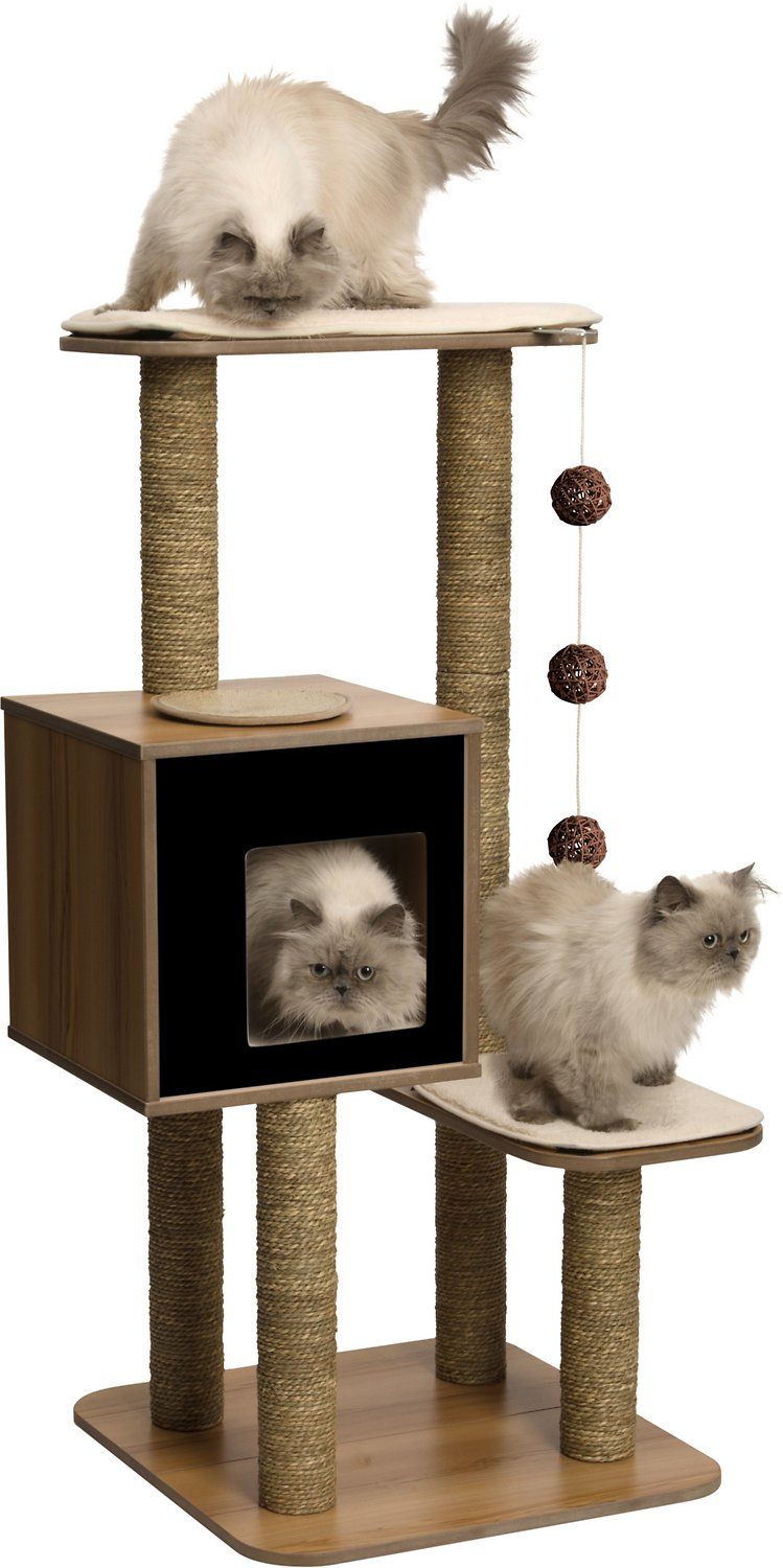 Vesper V High Base Cat Tree 47 8 In Black Chewy Com