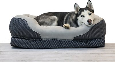 BarksBar Snuggly Sleeper Orthopedic Bolster Dog Bed w/Removable Cover, Gray
